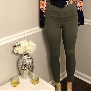 H&M Olive green ankle zip Pants